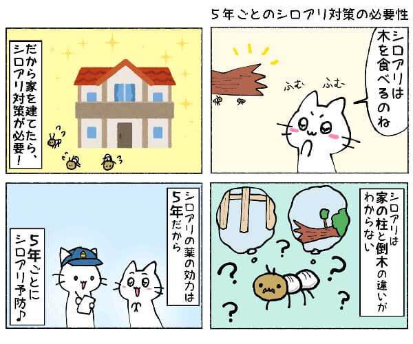 四コマ漫画_5年ごとのシロアリ対策の必要性_600×500